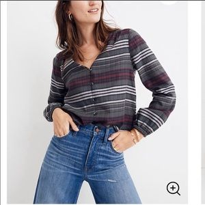 MADEWELL PLAID TOP GRAY BURGUNDY BLACK WHITE